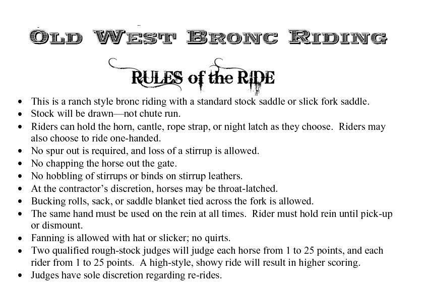 OldWestBroncRiding_Rules